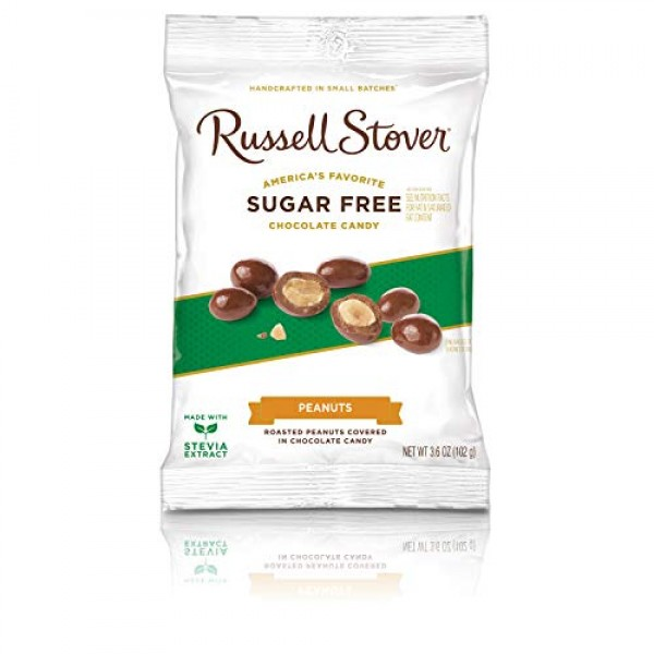 Russell Stover Sugar Free Chocolate Covered Peanuts, 3.6 oz. Bag