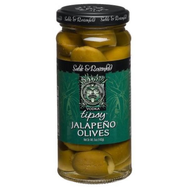 Sable & Rosenfeld Vodka Kicked Jalapeno Tipsy Olives, 5-Ounce Gl...