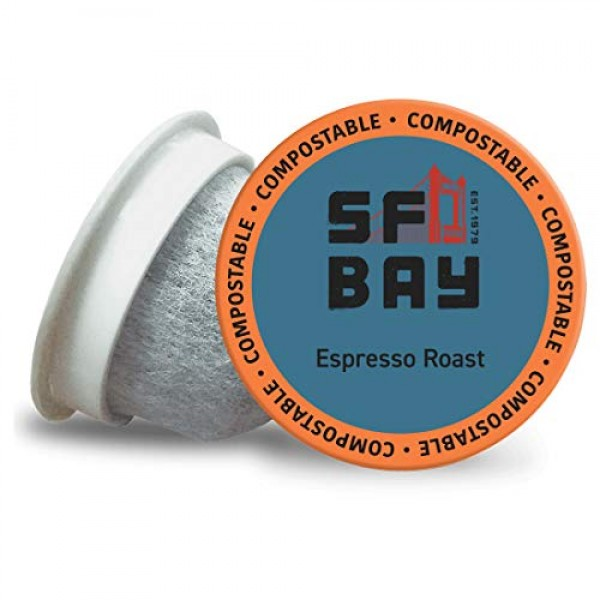 SF Bay Coffee Espresso Roast 36 Ct Dark Roast Compostable Coffee...