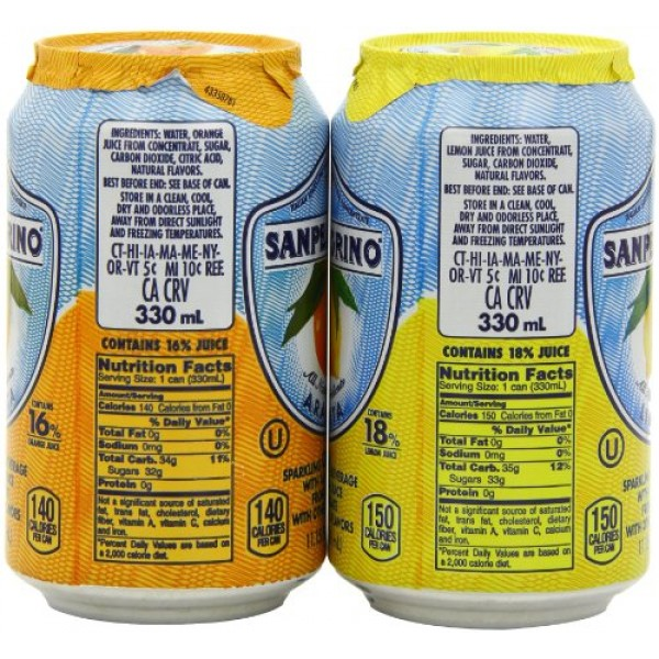 San pellegrino Sparkling Beverage, Lemon, Orange Variety, 11.15 ...