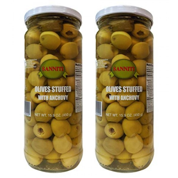 Sanniti Olives stuffed with Anchovies, 15.9 oz Pack of 2