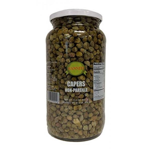 Sanniti Spanish Non Pareil Capers in Vinegar and Salt Brine - 33...