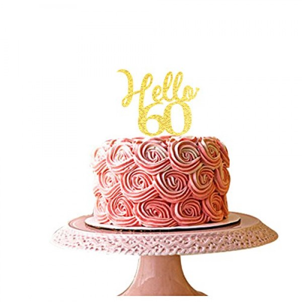 Hello 60 gold acrylic cake topper 60th birthday party decorations