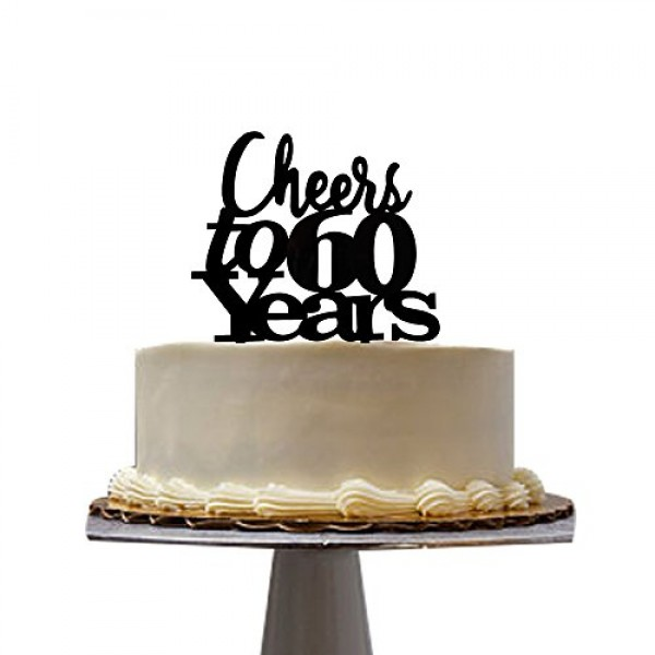 Cheers to 60 years cake topper for 60th birthday party decoratio...