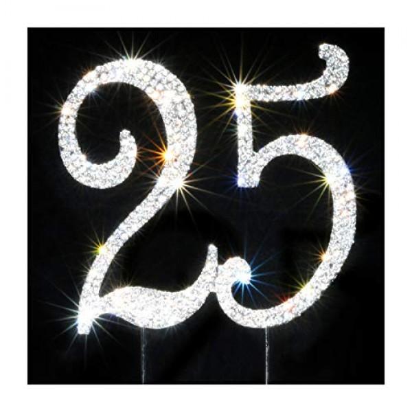 25 Cake Topper | Premium Bling Rhinestone Diamond Gems | Birthda...