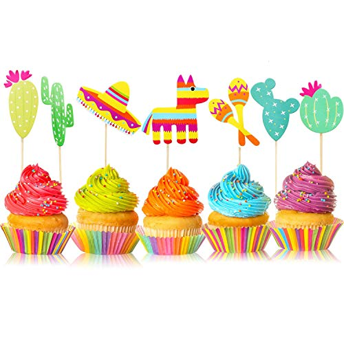 42 Pcs Mexican Fiesta Cupcake Toppers Decoration, Cactus Donkey ...