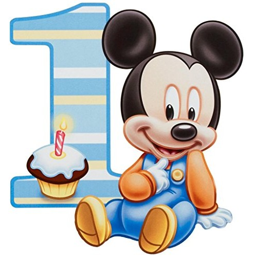 Baby Mickey Mouse First Birthday Party 1/4 Sheet Edible Photo Bi...