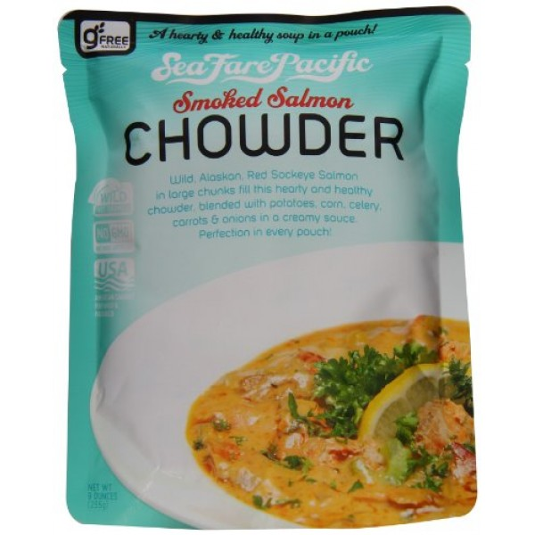 Sea Fare Pacific Smoked Salmon Chowder, 9 Ounce Pack of 8