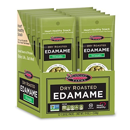 Seapoint Farms Wasabi Dry Roasted Edamame, Healthy Gluten-Free S...