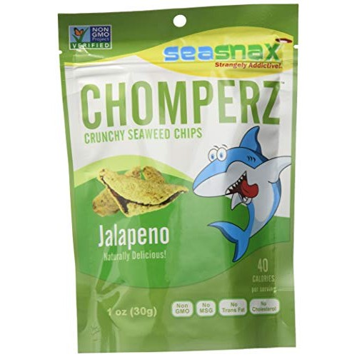 SeaSnax Chomperz Crunchy Seaweed Chips Jalapeno, 1 oz Pack of 8