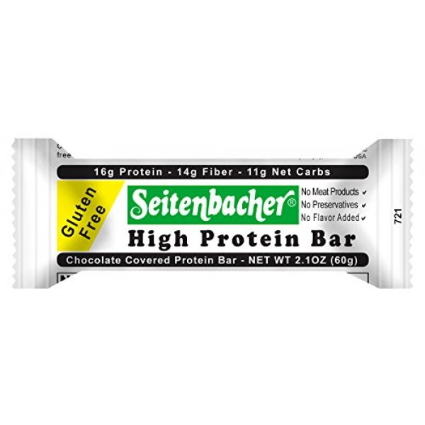Seitenbacher Chocolate Covered Protein Bar – 16g of protein, 14g...