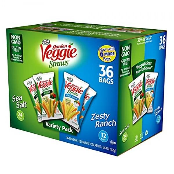 Sensible Portions Garden Veggie Straws 1oz Variety Pack Of 36