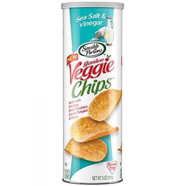 Sensible Portions Salt and Vinegar Veggie Chips 5 oz Tubes - Pac...