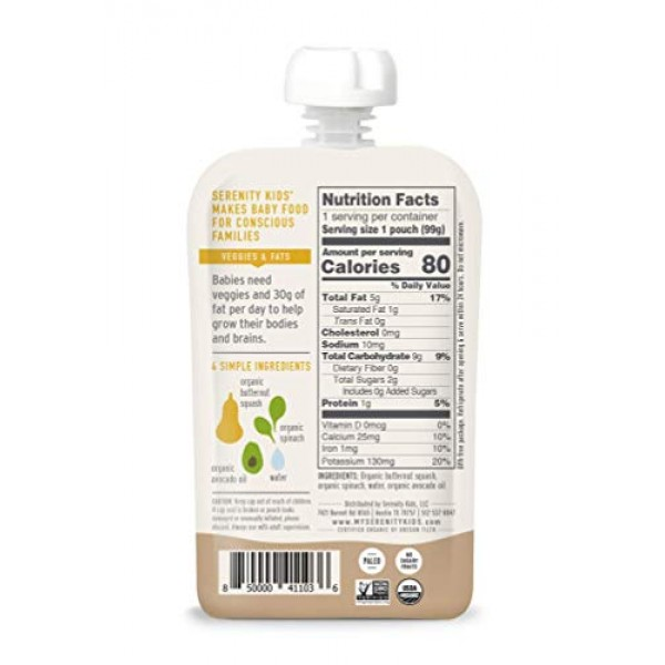 Serenity Kids Baby Food, Organic Butternut Squash and Spinach wi...
