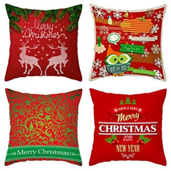 Christmas Pillow Covers, Shan-S Merry Christmas Linen Pillowcase...