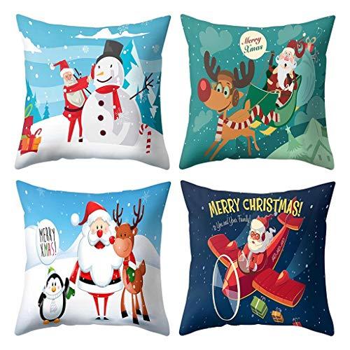 Shan-S Christmas Pillow Covers 18 X 18, Set of 4 - Santa Claus...