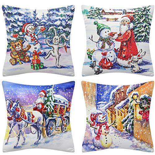 Shan-S Christmas Throw Pillow Cover 18 X 18, Set of 4 Merry Chri...
