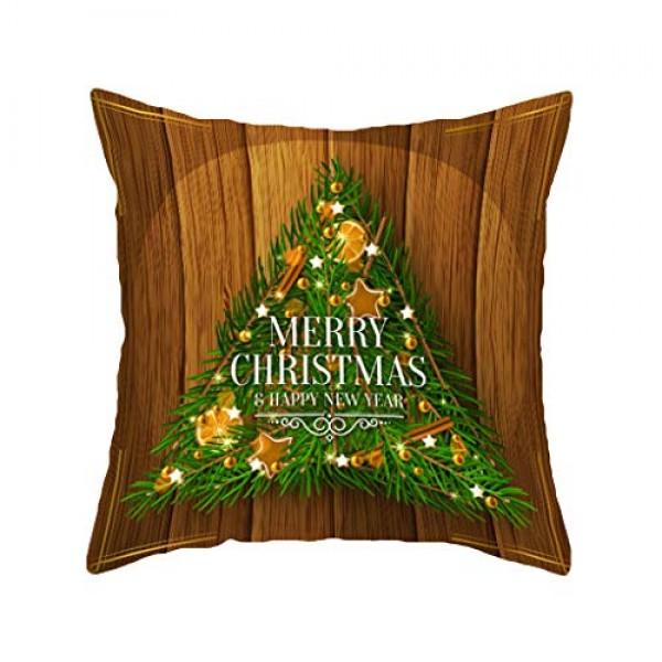 Shan-S Christmas Throw Pillow Covers Green Golden Christmas Bell...