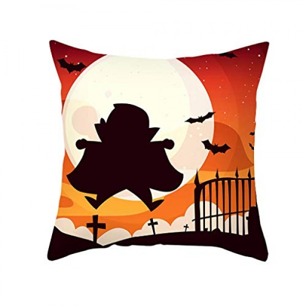 Shan-S Halloween Pillow Covers,18 x 18 Inch Owl/Bat/Witch/Castle...