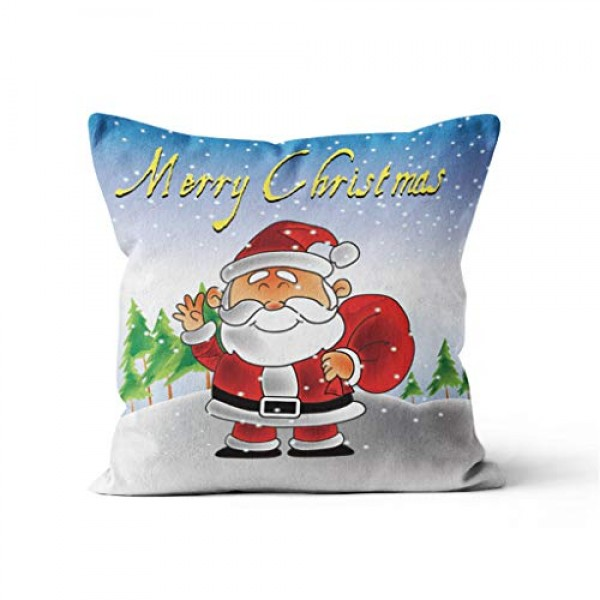 Shan-S Merry Christmas Throw Pillow Covers, Cartoon Santa Claus ...