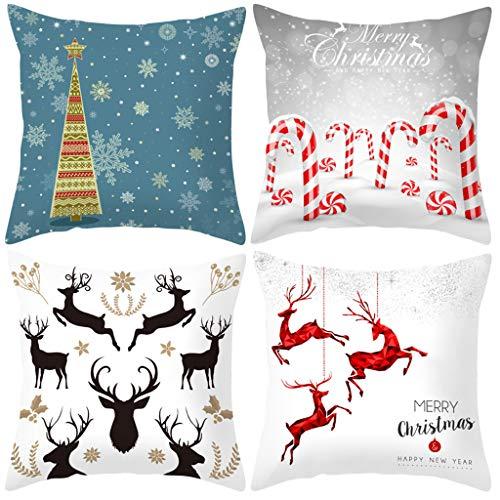 Shan-S Set of 4 Christmas Throw Pillow Cover Decor Square Pillow...