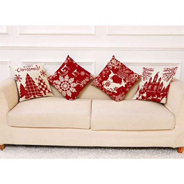 Shan-S Set of 4 Merry Christmas Decorative Throw Pillow Covers 1...