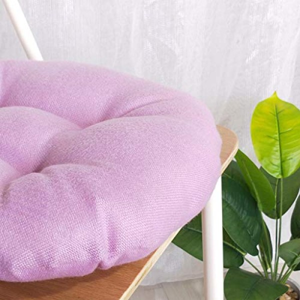 Shan-S Solid Color Round Cotton Floor Cushion, Cotton Linen Brea...