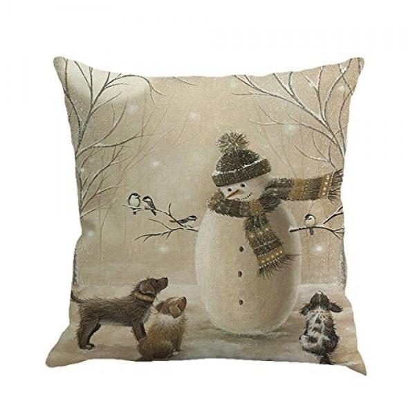Shan-S Christmas Pillow Covers 18x18 inch Snowman Reindeer Elk X...