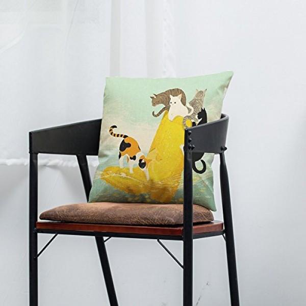 Shan-S Happy Cute Cat Print Pillow Cotton Linen Cushions Cover T...