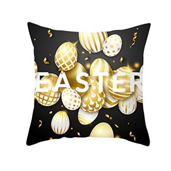 Shan-S Happy Easter Throw Pillow Case Luxury Gold Eggs Letter Pr...
