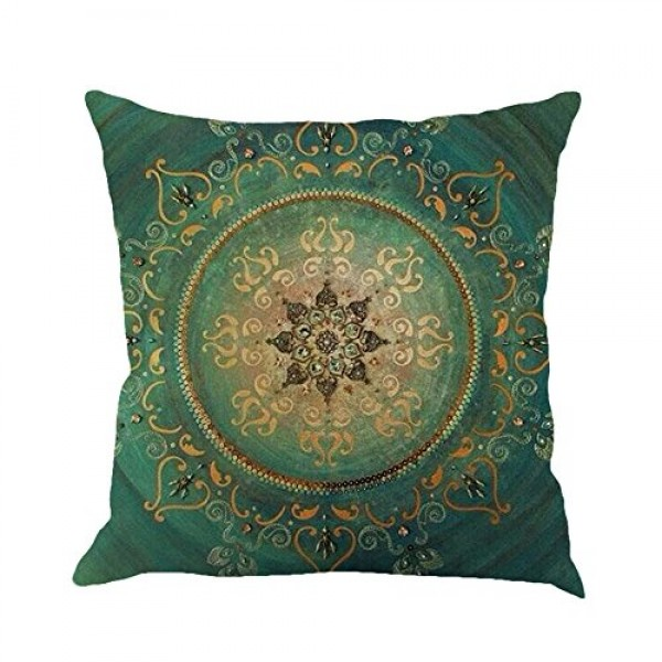 Shan-S Throw Pillow Covers Decorative Retro Floral Compass Bohem...