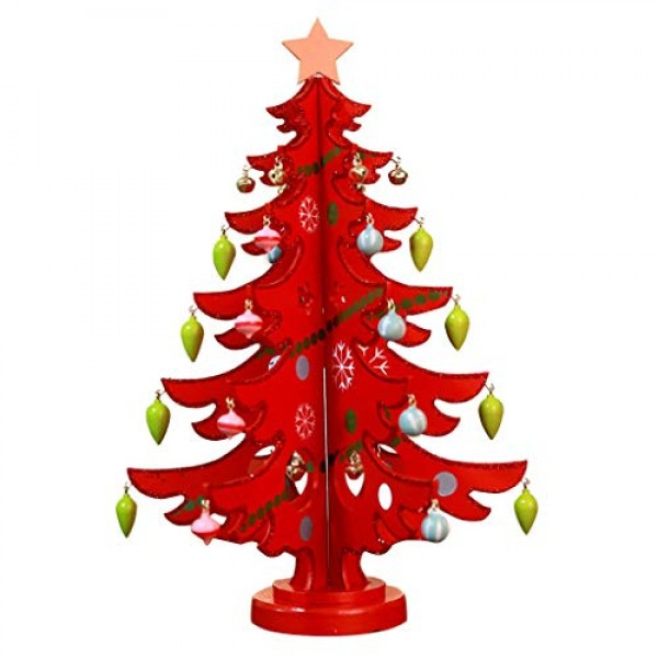 Shan-S Wooden Christmas Tree Table Decorations Toy Mini Detachab...