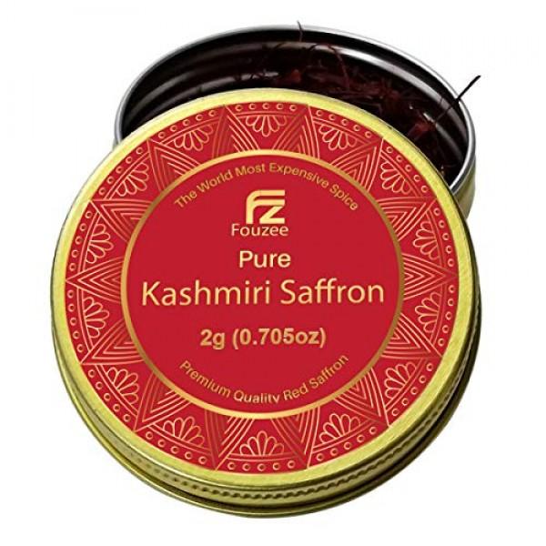 Fouzee Pure Kashmiri Saffron Threads, Finest 100% All-Red Saffro...