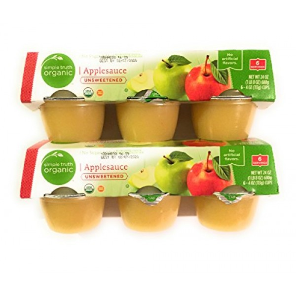 2 Packages Simple Truth Organic Applesauce Unsweetened 4 Ounce C...