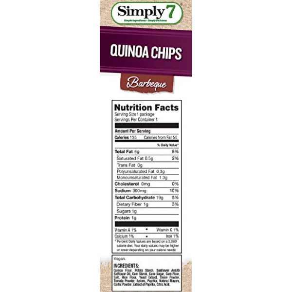 Simply 7 Quinoa Chips, Barbeque, 0.8 Ounce Pack of 24