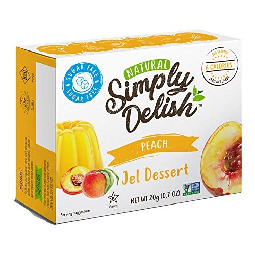 Simply Delish Jel Desserts, Peach, 0.7 Ounce Pack of 6