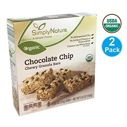SimplyNature USDA Organic Chocolate Chip Chewy GRANOLA BARS each...