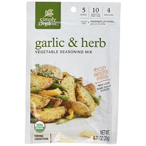 Simply Organic Crazy Awesome Veggies Seasoning Mix, Garlic and H...