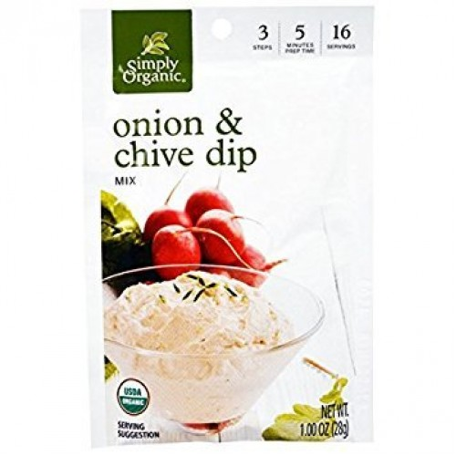 Simply Organic Dip Mix,Og2,Onion&Chive 1 Oz Pack Of 12
