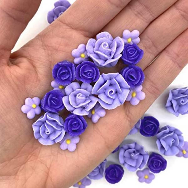 30 Violet Icing Flowers | Purple Flowers | Edible Roses| Lavende...