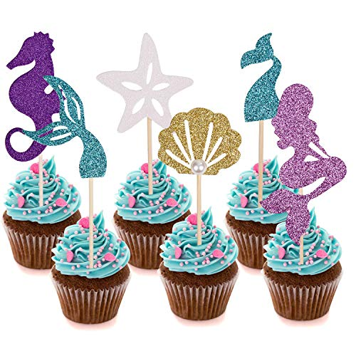 Since1989 24 Pcs Glitter Mermaid Cupcake Toppers, Mermaid Party ...