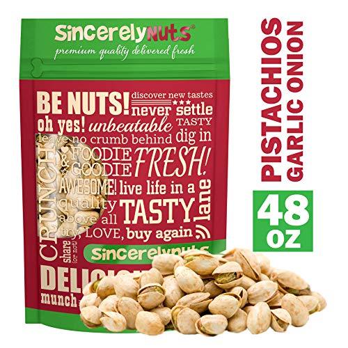 Sincerely Nuts Garlic & Onion Pistachios in Shell -Three Lb. Bag...