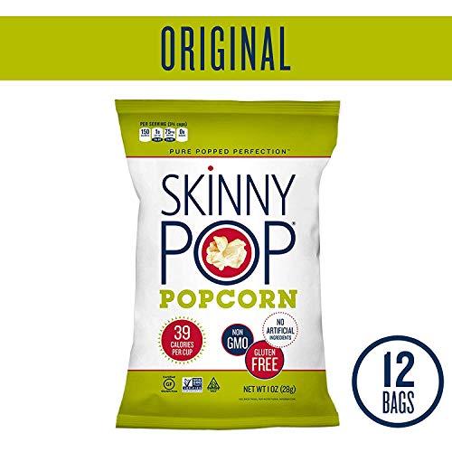 SkinnyPop Original Popped Popcorn, 12-Pack of 1.0oz Individual B...