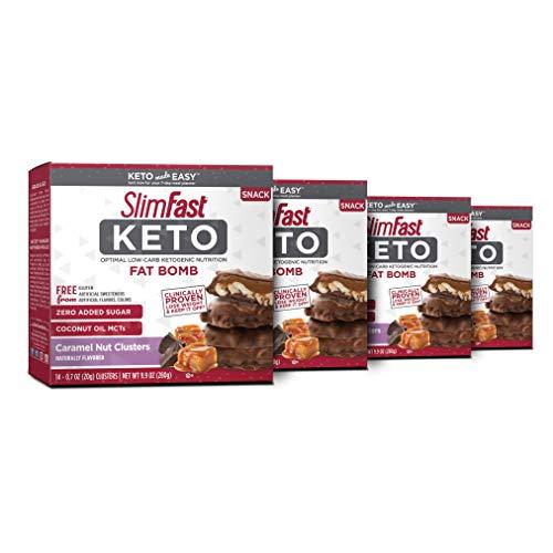 Slimfast Keto Fat Bomb Chocolate Caramel Nut Cluster 0.59 ounce,...