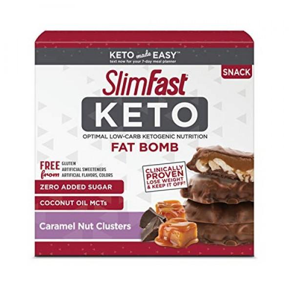 SlimFast Keto Fat Bomb Snacks, Chocolate Caramel Nut Clusters, 2...