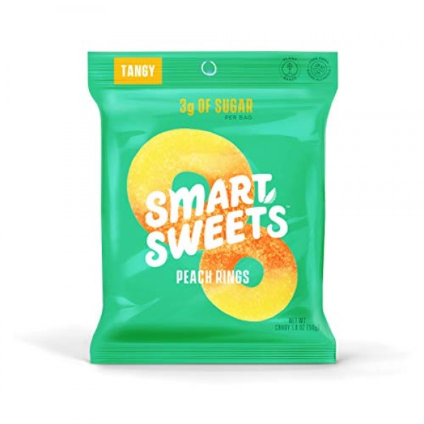 SmartSweets Peach Rings 1.8 Oz Bags Box Of 12, Candy With Low ...