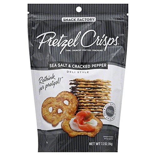 Snack Factory Pretzel Crisps, Sea Salt and Cracked Pepper, 7.2 O...