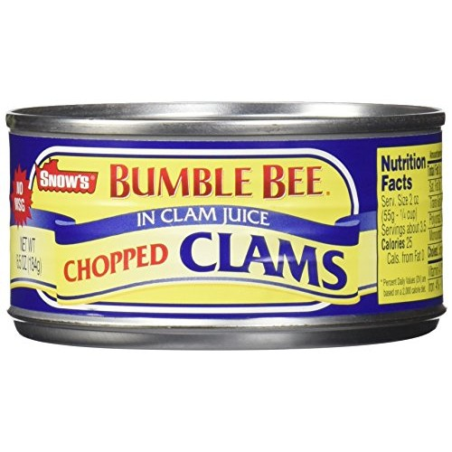 Snows by Bumble Bee Chopped Clams Juice, 6 Count