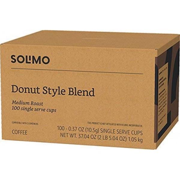 Amazon Brand - 100 Ct. Solimo Donut Style Blend Medium-Light Roa...