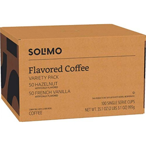 Amazon Brand - 100 Ct. Solimo Variety Pack Light Roast Coffee Po...